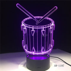 Drum Set 3D Lamp 7 Color Change Remote Touch Switch LED 3D Night Light lights Musical Instruments Atmosphere lamp AW-1197