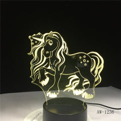 NEW Animal Kawaii Unicorn 3D LED LAMP NIGHT LIGHT Multicolor RGB Bulb Christmas Decorative Gift Cartoon Toys Luminaria AW-1236