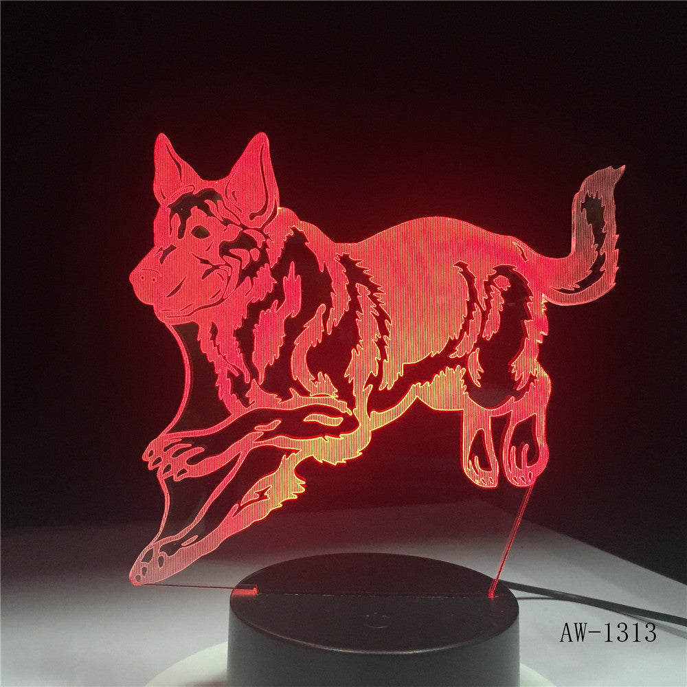 German Shepherd Running Dog 3D Night Lamp Hologram 3D Decor Lamp Colorful Table Desk Lights Birthday Gift For Friends AW-1313