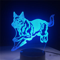 New 3D LED Night Light Wolf Animal 7 Colors Changing Creative Desk Lamp USB Touch Remote Table lamps Birthday Gift 1313