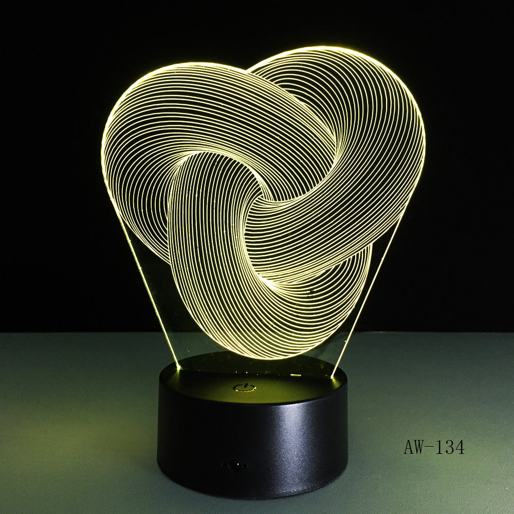 Artistic Abstraction Loop Knot Modern 3D USB Night Light Colorful LED Desk Table Light Lamp For Home Bedroom Decoration AW-134