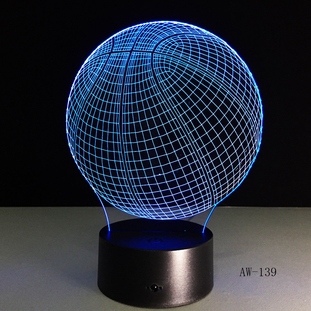 3D Basketball Sport Home Decoration LED illusion Touch Usb 7 Color Change Lamp Bedroom Night Light Child Boys Man Gift AW-139