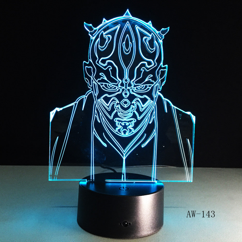 Star Wars Darth Maul Vassal Jedi Knight Figure Lamp Multicolors 3D Visual Touch USB Led Bedroom Night light lampara Gift AW-143