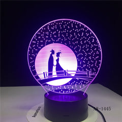 Unique Gifts Romantic Love Fairytale 3D Led Night Light 7 Color Change Novelty Table Lamp Home Decor Bedside LED Lamp AW-1445