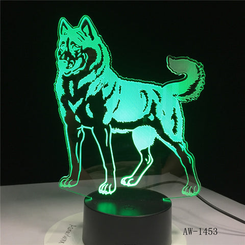 3D LED Night Light Doberman Pinscher Dog with 7 Colors Light for Home Decoration Lamp Visualization Optical Illusion AW-1453