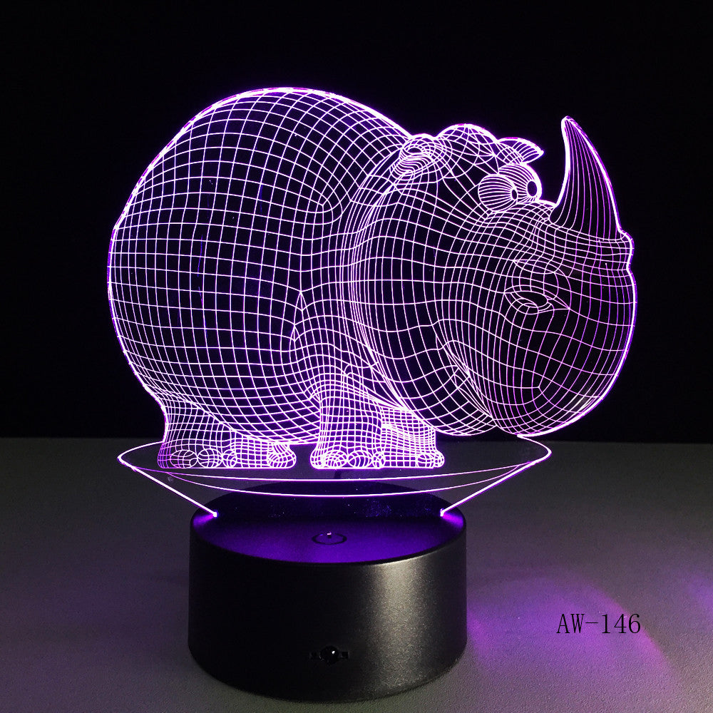 Rhinoceros NightLights 7 Colors Atmosphere 3D Table Lamp Kids Gift LED Touch Button USB Lampara Baby Sleep Lighting Decor AW-146