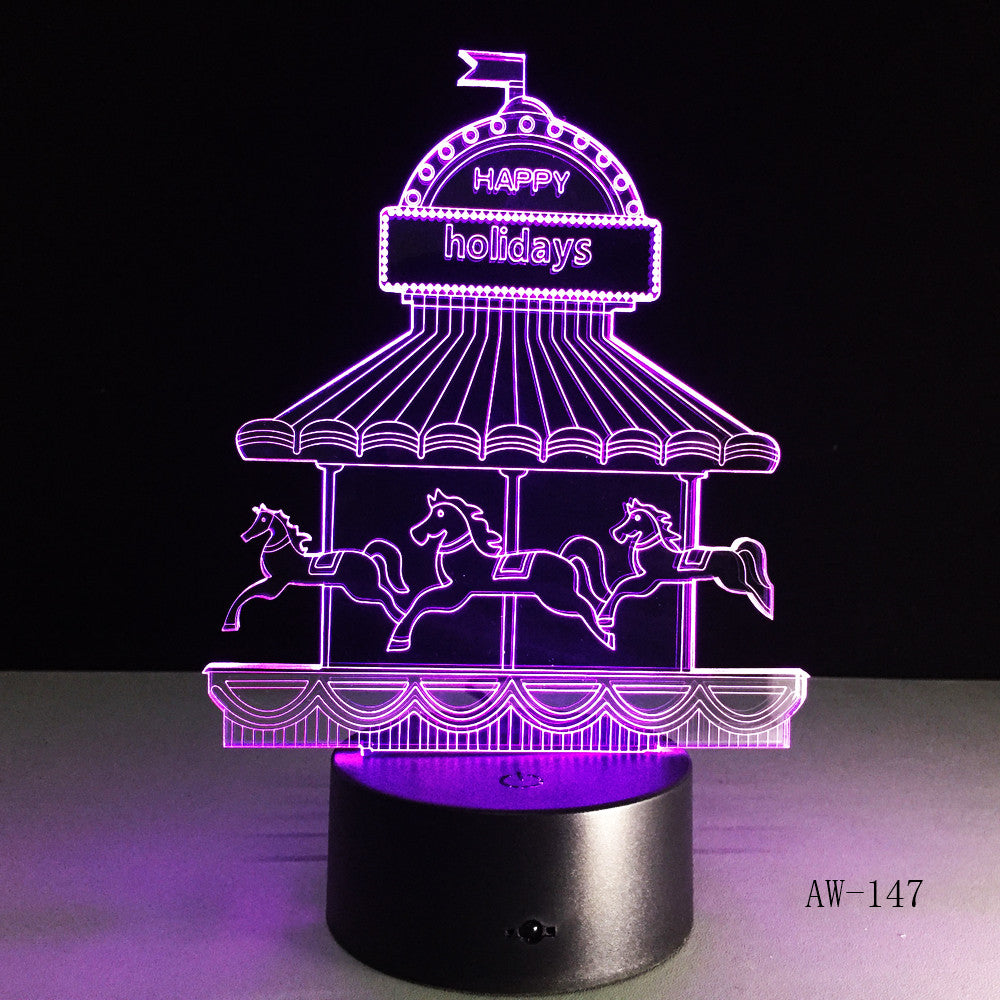 Romantic Merry-go-round 3D LED 7 Color Change Table Lamp Night Light Bedroon Decor Novelty Lustre Holiday Girlfriend Gift AW-147