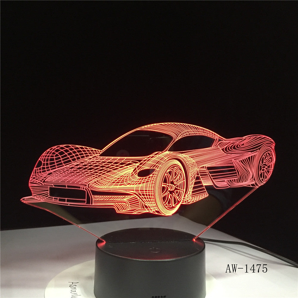 Super Running Car Acrylic 3D Lamp 7 Color Change Night Light Baby Gifts LED USB Desk lamp Atmosphere Decor Souvenir AW-1475