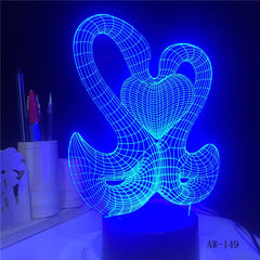 Lovely 3D Sweet Double Kiss Swam Decoration Atmosphere LED 7 Color Change Night Table Lamp Romantic Valentine's Day Gift AW-149