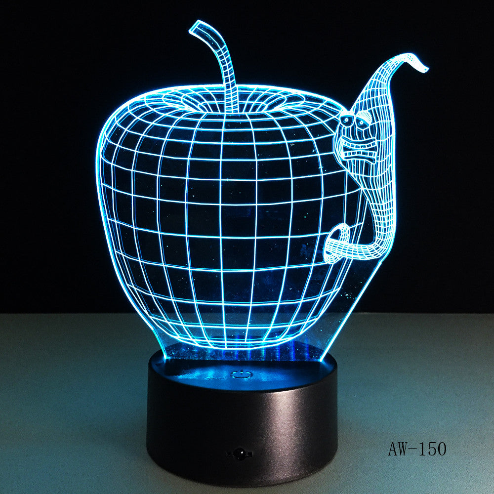 Korea Cartoon 3d Apple and Worm Shape Colorful led night lamp Changing Colors Touch Switch for Home Decor Gift AW-150