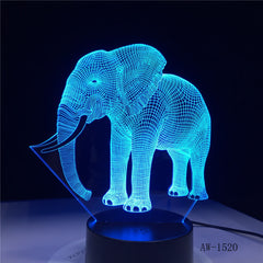 3D LED Night Light Dance Elephant with 7 Colors Light for Home Decoration Lamp Amazing Visualization Optical Illusion AW-1520