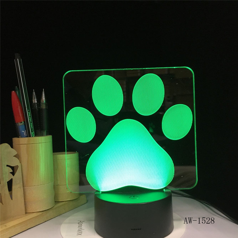 Dog Paw Footprints Modelling 3D Table Lamp LED Colorful Nightlight Bedroom Decor USB Sleep Lighting Kids Brithday Gifts 1528