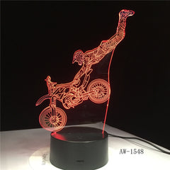 Dirt Bike Shape LED Night Light Motocross Motorcycle 3D Acrylic LED Table Lamp 7 Color Night Light Touchs RC Lamp AW-1548