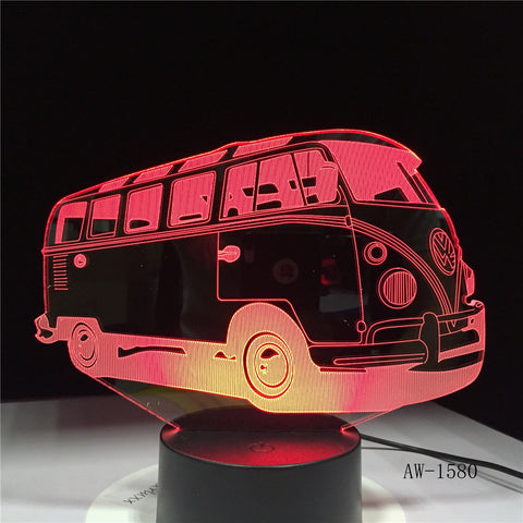 3D School Bus Night Light Acrylic Lights Lampara 7 Colorful Changing Table Lamp with Touch the Button Change the Colors AW-1580