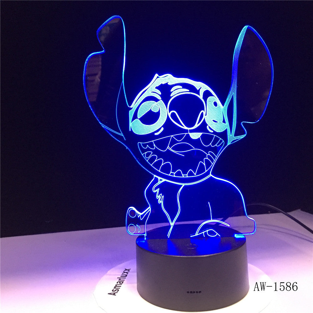 NEW 3D LED Night Light Cute Stitch Alien Dog Cartoon 7 Color Baby Sleep Desk Lamp Home Decor Holiday Kid Christmas Gift 1586