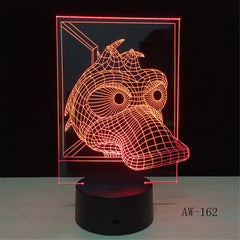 3D LED Lamp Duck lamparas led infantil USB Base 7 Colors Change Night Light Decor Christmas Girl Kid Gift Girl AW-162
