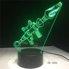 3D Scar Lamp Rocket Launcher LED Night Lamps Fortnit 3D Lights 7 Color Changing for Bedroom Home Decor Birthday Gifts AW-1653