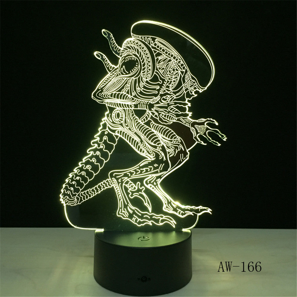 Action Movie Alien vs Predator Prometheus 3D LED USB Lamp 7 Colors Changing Night Light Cool Boy Toy Bedroom Decoration AW-166