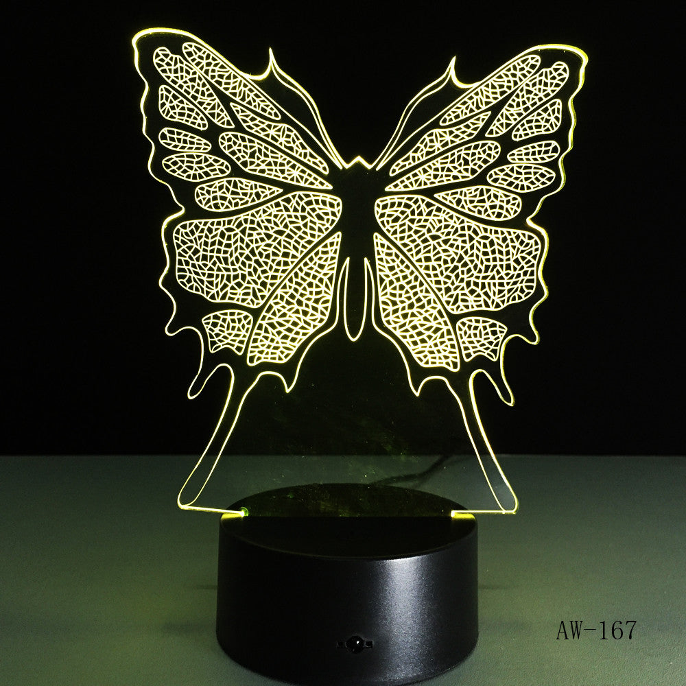 Baby Children Toys Lovely Butterfly 3D Illusion LED Night Lights Colorful Acrylic Table Lamp For Party Gift Home Decor AW-167