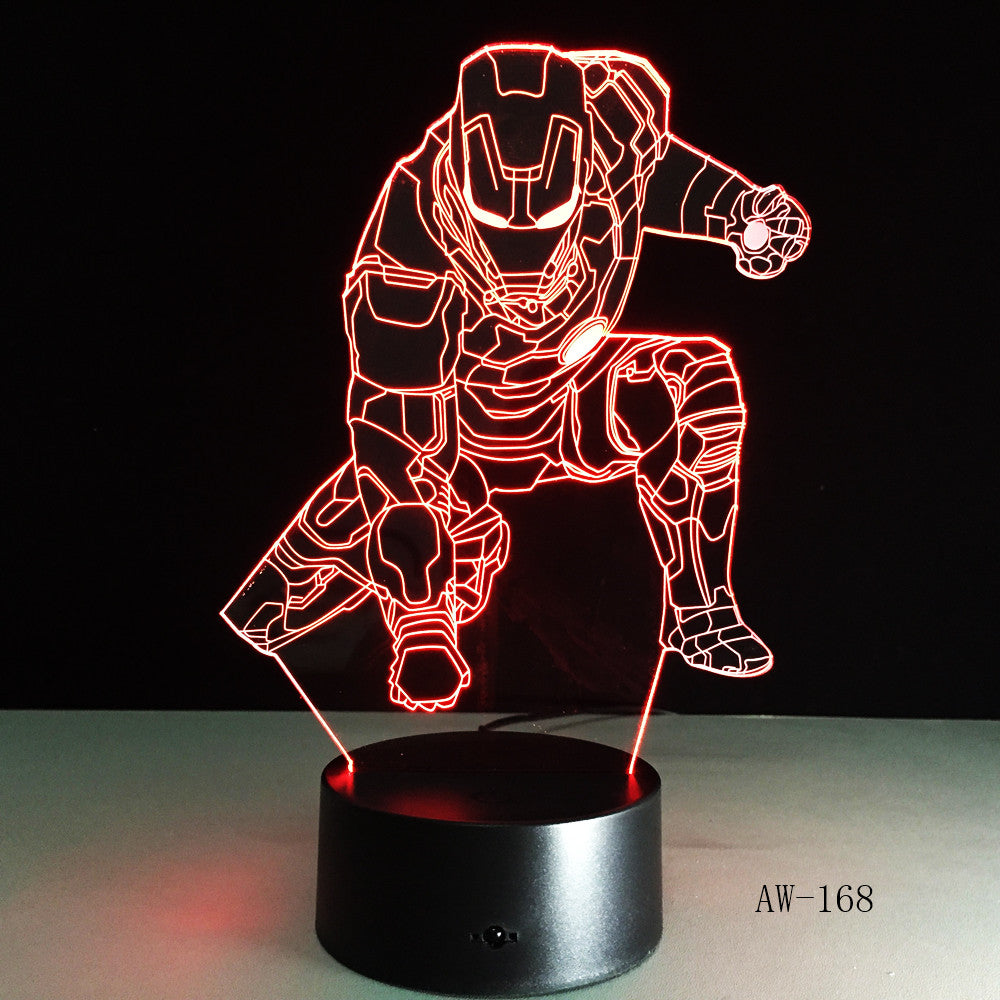 Novelty Superhero Ironman Action Figure 7 Colors Changing LED 3D Night Lamp lampada Child Kids Table Bedroom Light Gifts AW-168