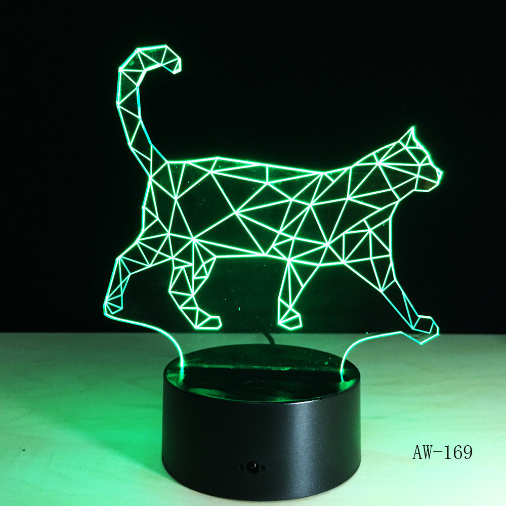 The New Walking Cat 3D Nightlight Acrylic Stereoscopic LED Colorful Lamps Plug-in gradient Atmosphere Lamp Drop shipping AW-169