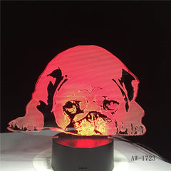 Sleeping Dog Bulldog Poodle Jack Russell Terrier Rottweiler Dobermann 3D Visual Illusion Lamp Kid Night Light Style Lamp AW-1723