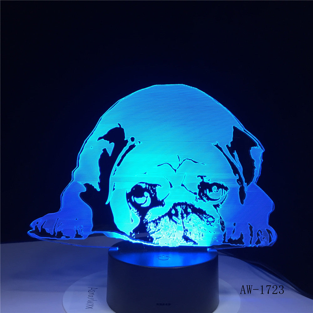 3D 7 Colors Changing USB Home Living Room Lighting Decor Acrylic Cute Pug Dog LED Table Lamp Touch Button Night Lights 1723