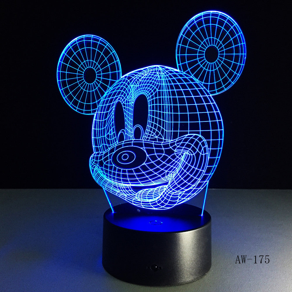 3D Cute Mickey Mouse Kid LED Night Light Cartoon illusion Novelty Desk Lamp Birthday Christmas Child Kids Gift Decor AW-175