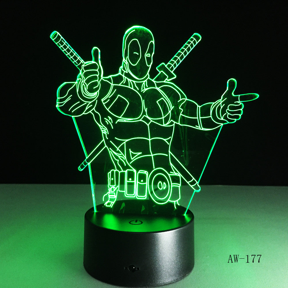 Cartoon Figure Marvel Anti hero Deadpool LED 3D Illusion Mood Night Light Lamp luminaria Room Decor Novelty lighting AW-177