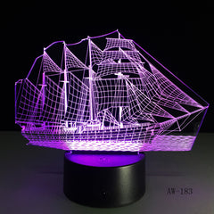 3D Retro Ancient Sailing Sea Boat Ship LED Lamp Chinese Style Multicolor Illusion RGB Night Light USB Table Desk Decor AW -183