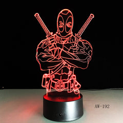 Fashion LED Toys 3D Illusion Lamp Marvel Anti-hero Deadpool Figure Night Light Color Mood Novelty Lamp Holiday Gifts AW-192