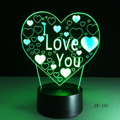 3D Led Night Light I Love U Usb Touch Remote Control 7 Colors Changable Glow In The Dark Toys Christmas Halloween Gift AW-195