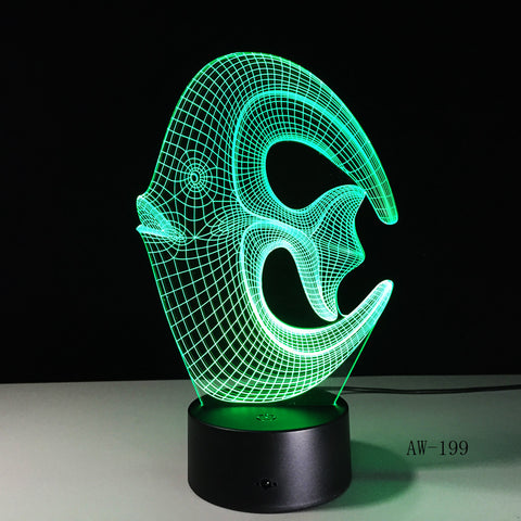 7 Color Changing Fish 3D led Lamp USB Charge Fishing 3D Night light Desk lamp Touch Button Table Lamps Gifts for Kids AW-199