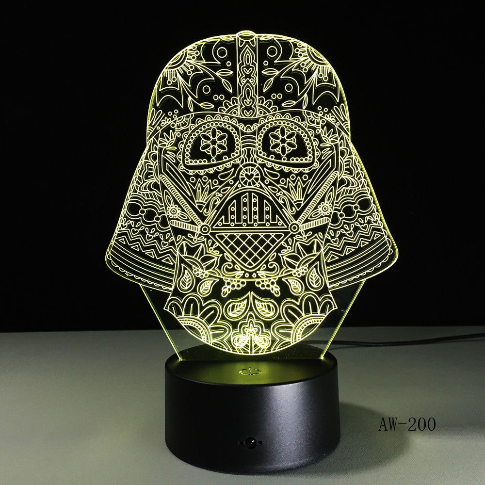 Star War Figure Darth Vader 3D Led 7 Colors Sleeping Night light Touch Senser USB Table Illusion Mood Dimming Lamp AW-200