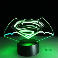 3D LED DC Superman Logo Symbol Light Night Desk Table Lamp 7 Color Change Flashlight USB RGBW Controller Toy Kids Gift AW-201