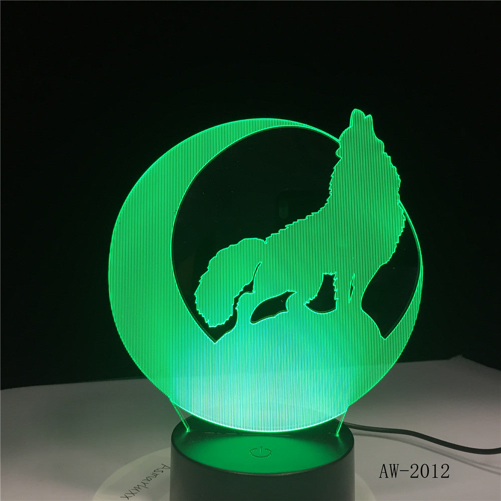 Cute Wolf 3D Night Light Creative Electric Illusion 3d Lamp LED 7 Color changing USB touch Desk Lamp For Kid's Gift AW-2102