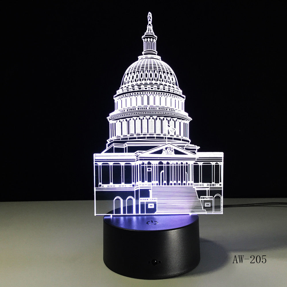 Crystal LED lights White House Night Lights 3D Stereo Visual Desk Lamp Creative Touch Switch Taj Mahal Usb Led Light Lamp AW-205