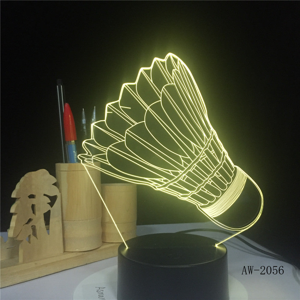 Badminton 7 color change 3D Lamp Remote Touch switch 3d Light Fixtures Christmas gift for Rom lights Led Night Light AW-2056