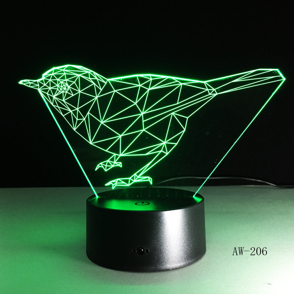 3D bird Animal Night Lights Lamp DS Platform 7 Colors Change Touch Switch Table for Office Light AW-206