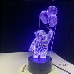 Little Bear Balloon Light 3D LED Bedside Sleep Decor Visual Cartoon Desk Lamp USB 7 Colors Fixture For Nightlight Gifts AW-2068