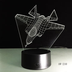 Air Plane 3D Night Light LED Remote Touch Fighter Table Lamp 3D Lamp 7 Colors Changing Indoor Lamp As Children Gift Toy AW-210