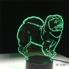 Chow Chow Dog 3D Lamp Night Light Kid Toy LED 3D Touch Table Lamp 7 Colors Flashing LED Light Homer Decorations for Home AW-2109
