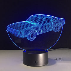 Car Model Toys 3D LED Illusion Nightlight LED Colors Change Touch Flash Light Glow in the Dark Desk Lamp Action Figure AW-211