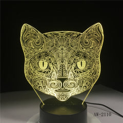 Big Face Cat 3D Illusion Lamp USB LED Touch Sensor Light 7 Colors Remote Control LED Table Lamp Luminaria Night Light AW-2110