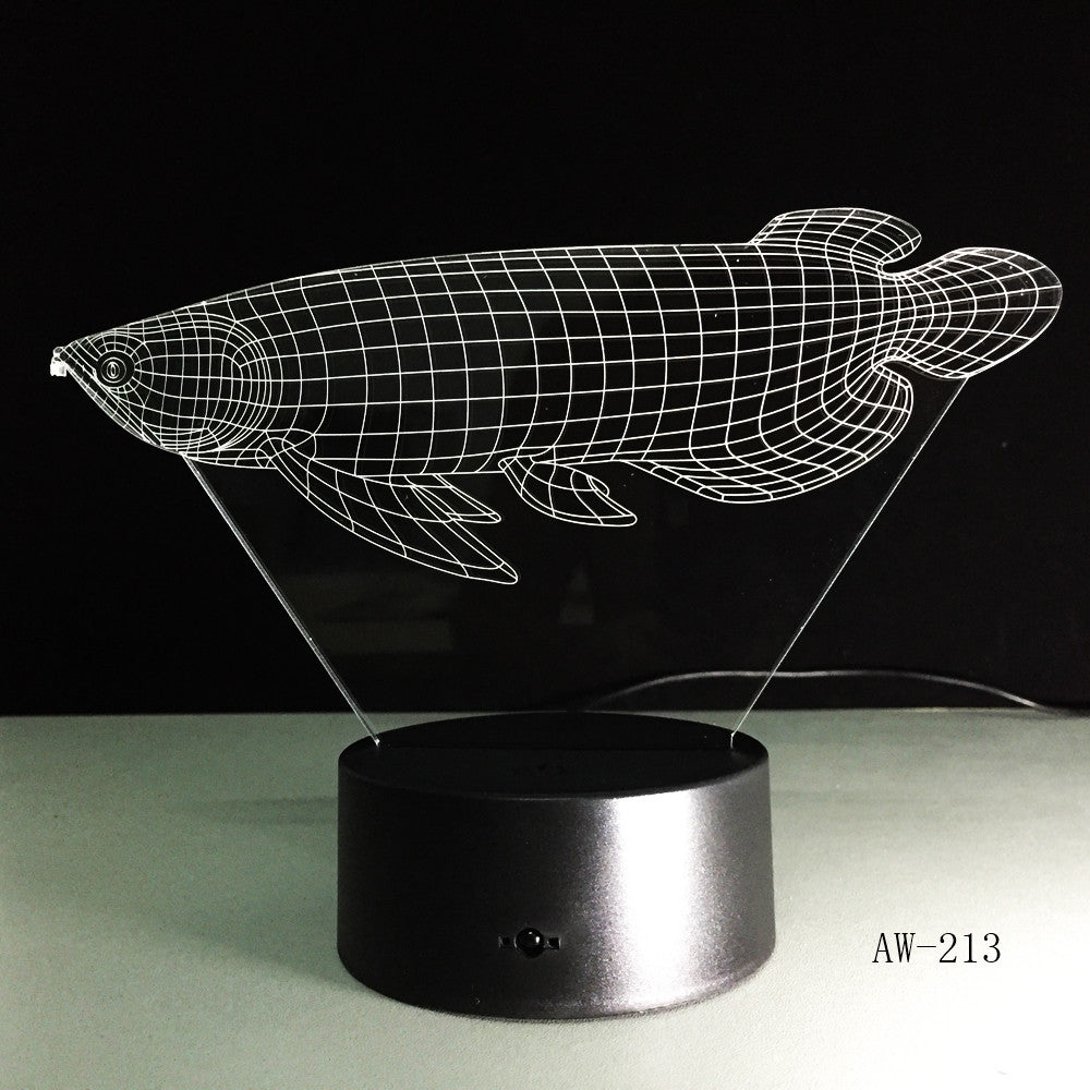 D Simulation Fish Visual LED Night Light Lucky Arowana Table Lamp Ornaments Decor Colorful Novelty Lighting Drop Ship AW-213