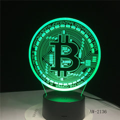 New Bitcoin 3d Lamp Seven Color Touch Led Visual Gift Decoration Desk Led Night Light Lovely 7 color change 3d Light AW-2136