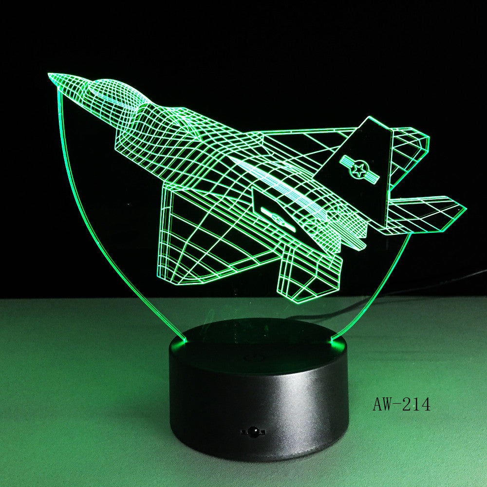 3d Led Night Light Warcraft Plane Model illusion Lampara Kids Gift Fighter Decorative Light Warplane Table Lamp Bedside AW-214