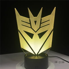 3D Optimus Prime Character Boy Gift Transformers Mask Illusion Desk Table RGB Led Night Light Colorful Lamparas Lamp AW-2156