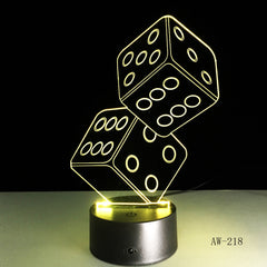 3D LED USB Lamp Magician Decoration TEXAS Hold EM Dice Spades Playing Card 7 Colors Changing RC Night Light Dropship Aw-218