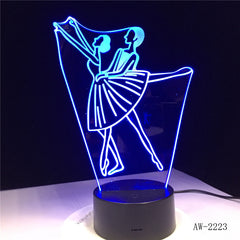 3D Illusion Lamp Ballet Girl LED USB 3D Night Lights 7 Colors Flashing Novelty LED Table Lamp Kids Bedside Decorations AW-2223